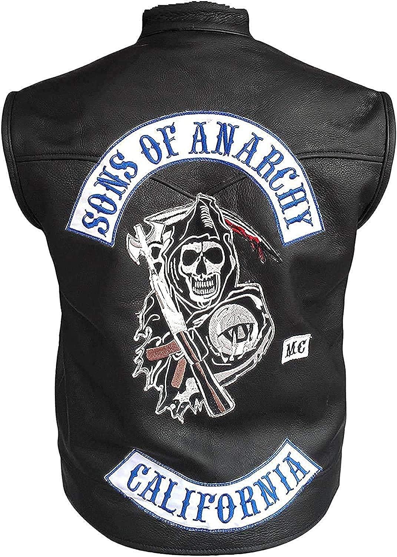 Men's Sons of Anarchy SOA Motorcycle Biker Club Faux Leather Vest Jacket