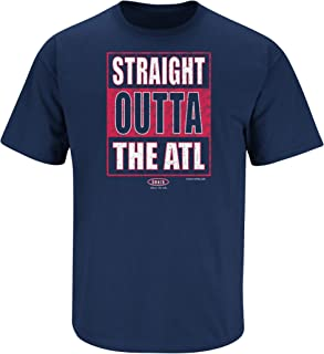 Smack Apparel Atlanta Baseball Fans. Straight Outta The ATL Navy T-Shirt (Sm-5x)