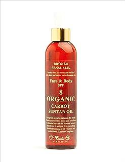 Bronzo Sensuale SPF 8 Sunscreen Deep Golden Tanning Organic Carrot Oil 8.5 Ounces