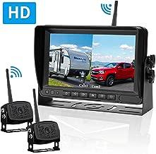 LeeKooLuu HD Digital Wireless Dual Backup Camera 7'' Monitor Split Screen Highway Observation System for Travel Trailers/RVs/Pickup/Trucks/Motorhome IP69K Waterproof Super Night Vision