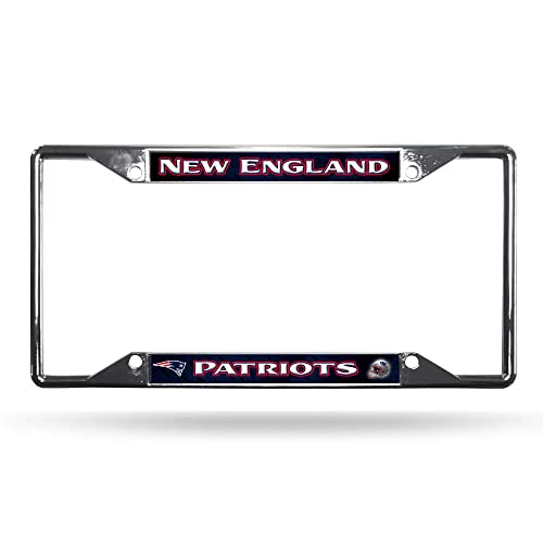 Single Football New England Patriots Metal Chrome Auto Tag License Plate Frame