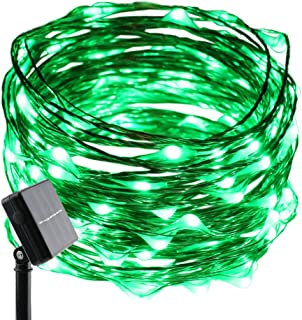 ErChen Solar Powered Copper Wire Led String Lights, 33FT 100 LEDs Waterproof 8 Modes Decorative Fairy Lights for Outdoor Christmas Garden Patio Yard (Green)