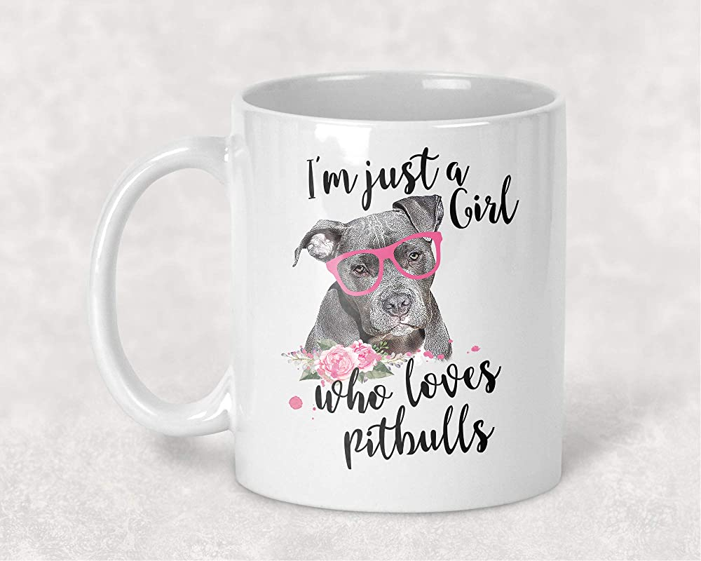 I M Just A Girl Who Loves Pitbulls Funny Dog Lover Coffee Cup Mug