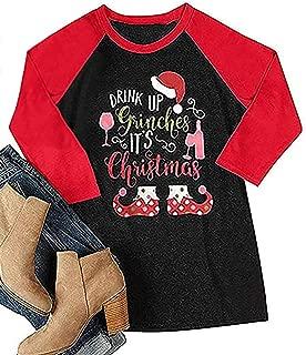 Drink Up Grinches It's Christmas T-Shirt Women Raglan 3/4 Sleeve O-Neck Xmas Baseball Tops Tee