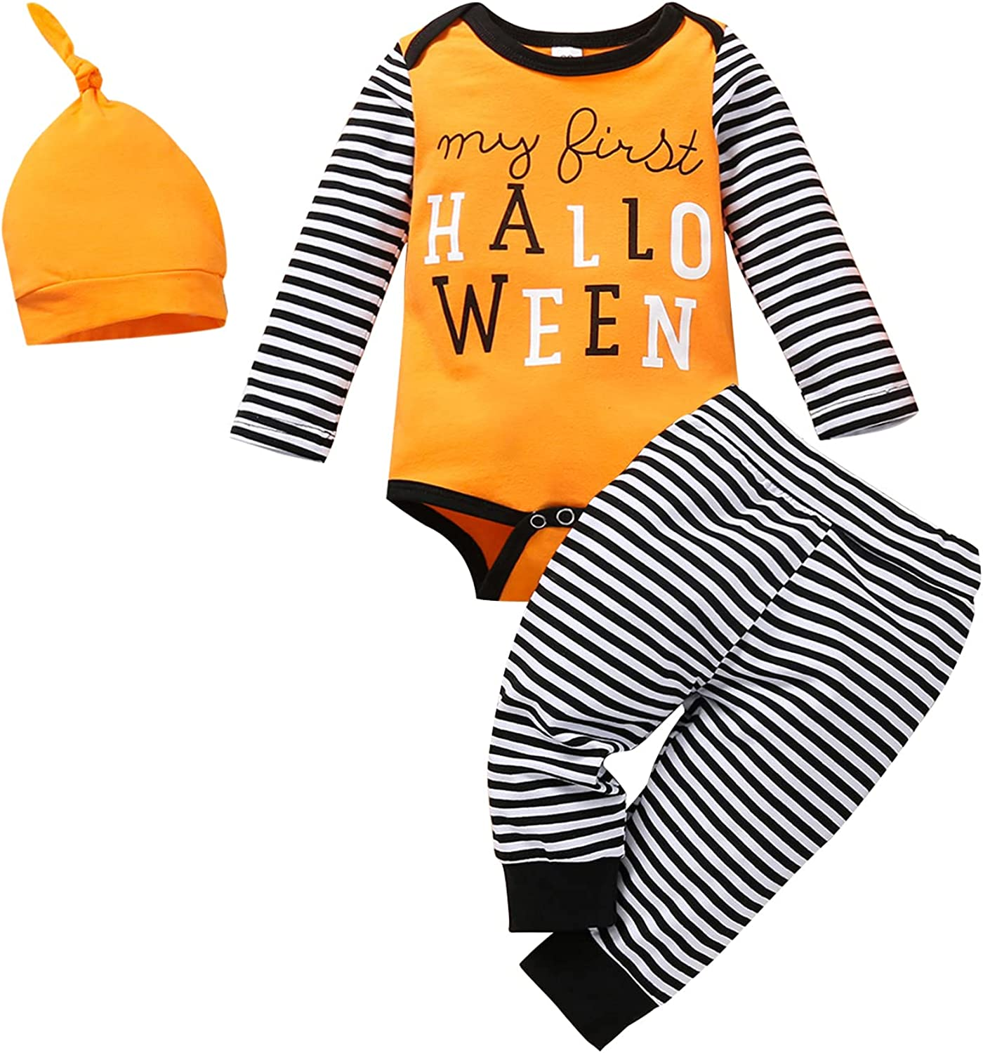 My First Halloween Baby Girl Clothes Newborn Boy Unisex Outfit Long Sleeve 3 Set
