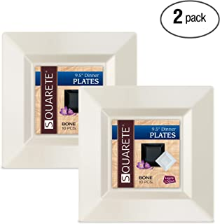 Squarete 9.5'' inch Bone Dinner Square Party Plates Hard Plastic Elegant Disposable 10 Square Ivory Dinner Plates per Package Pack of 2
