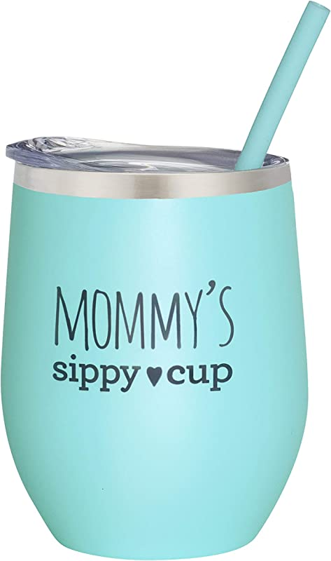 Mommy S Sippy Cup Wine Tumbler Mint 12 Oz Stainless Steel Stemless Wine Glass Tumbler With Lid And Straw Birthday Gift Christmas Valenday S Day Mother S Day