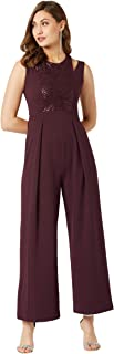 Miss Chase Women's Wine Red Solid Pleated Jumpsuit