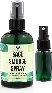 Sage Smudge Spray   Clearing Negative Energy Mist   4 oz Smokeless Smudging Liquid   Crystal Charged + BONUS Refill Bottle   Incense Ritual Aura, Good Vibes   Proper Ethanol Formula