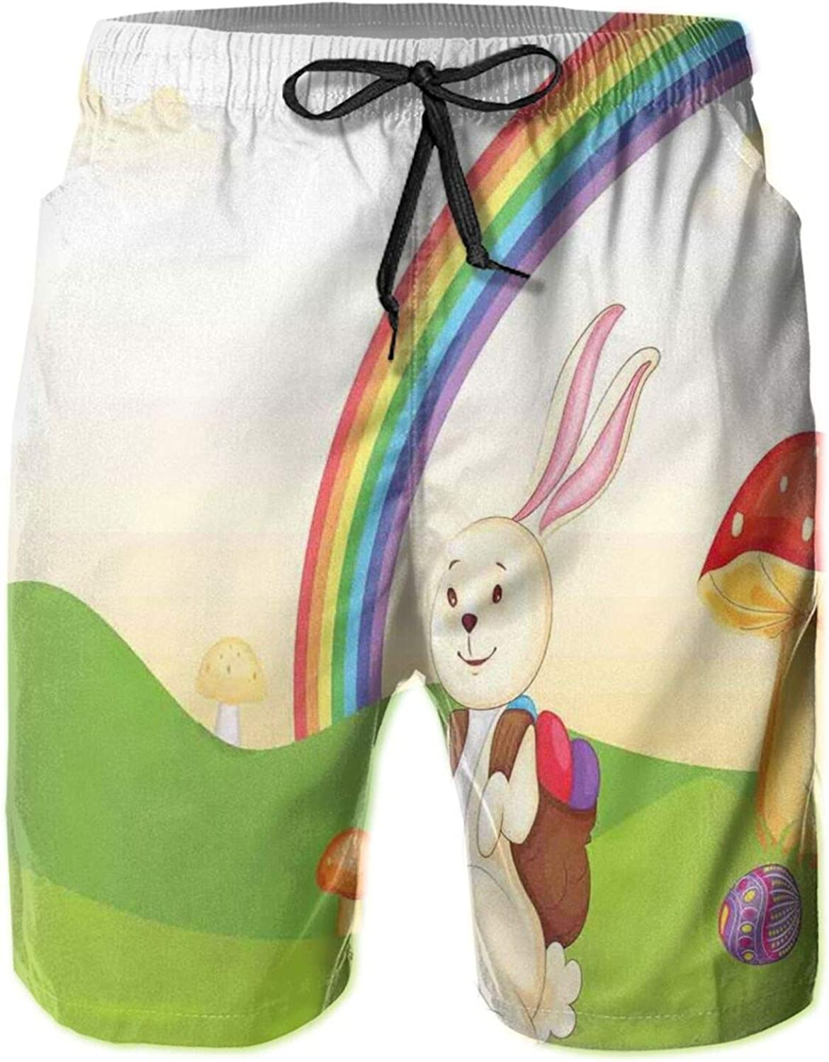 Bunny with Easter Egg Under The Rainbow Happy Rabbit in The Nature Kids Theme Fun Design Drawstring Waist Beach Shorts for Men Swim Trucks Board Shorts with Mesh Lining,L