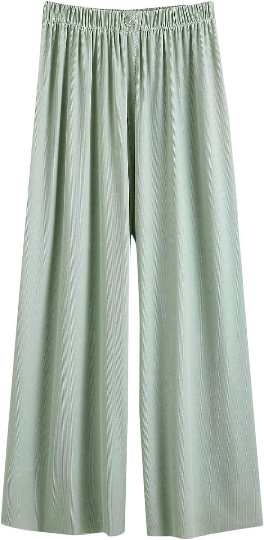 WDIRARA Women's Elastic High Waist Wide Leg Stretch Casual Crop Pants