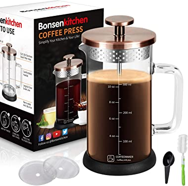 Upgrade Stainless Steel Strainer French Press Coffee Maker 12Oz with 4 Level Filter Screens Built In Thicker Borosilicate Glass, Easy Clean & Using Coffee Press For Home, Kitchen, Office-Bronze