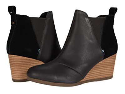 TOMS Kelsey (Black Leather/Suede) Women