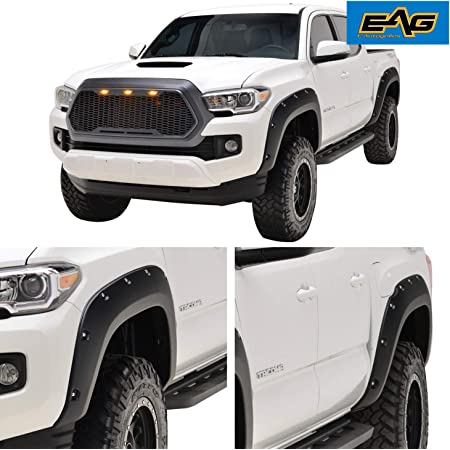 EAG Front and Rear Fender Flares ABS Pocket Rivet Style Fit for 16-21 Tacoma