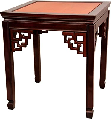 "Handmade Rosewood Two-Tone Square Table (China) - 22"" w X 24"" d 22"" h Brown Oriental Wood Finish"