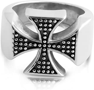 925 Sterling Silver Religious Ring Two-Toned st. George's Cross Ring Size 8-12.This Handcrafted Silver Ring is The Perfect Jewelry Gift for Men