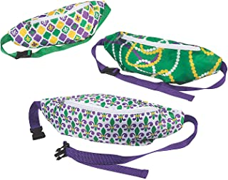 Fun Express - Mardi Gras Fanny Packs for Mardi Gras - Apparel Accessories - Totes - Purse & Wallet & Fanny Pack - Mardi Gras - 6 Pieces