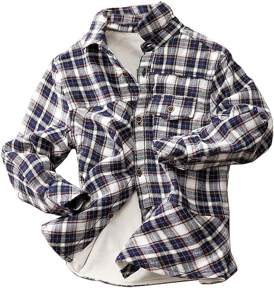 Abalacoco Boys Classic Shirt Soft Winter Warm Fleece Liner Cotton Button Down Plaid Top Shirt (5-6 Years, Blue)