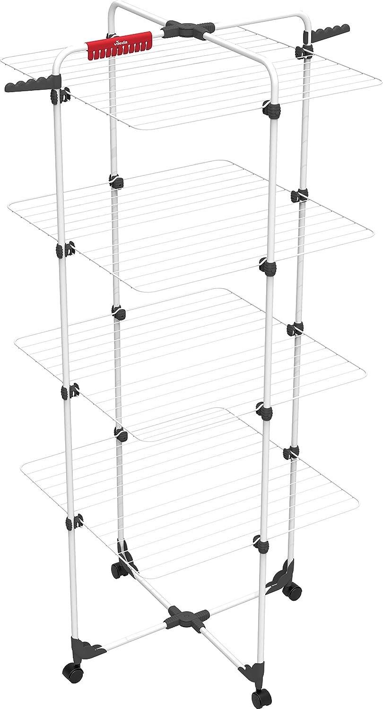 Vileda Mixer 4 Edición 2021 - Tendedero Vertical de Acero Inoxidable, 4 Niveles, 8 Rejillas y 40 Metros de Longitud de Secado, Dimensiones Abierto 169 x 71 x 71 cm, Color Blanco