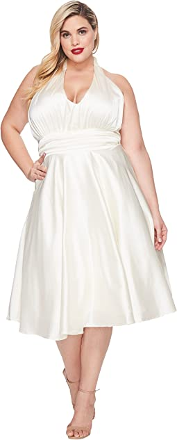 Plus Size Satin Halter Hyannis Swing Dress