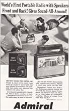 1958 Admiral Portable Radio: Speakers Front and Back, Admiral Print Ad