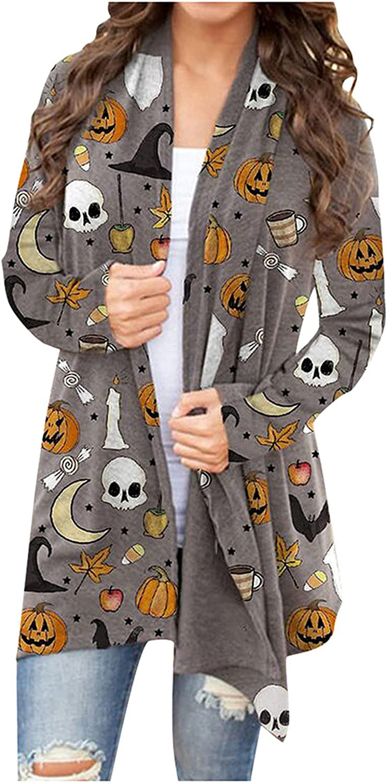 Women's Halloween Long Sleeves Cardigan Funny Cat Pumpkin Print Open Front Outwear Fashion Autumn Coat Blouses Tops