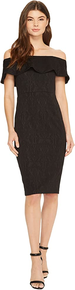 Donna Morgan Off Shoulder Stretch Brocade Midi Bodycon