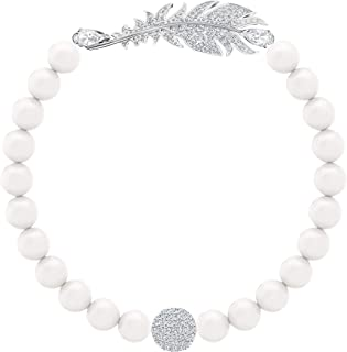 Braccialetto Nice Pearl, Bianco, Placcatura Rodio