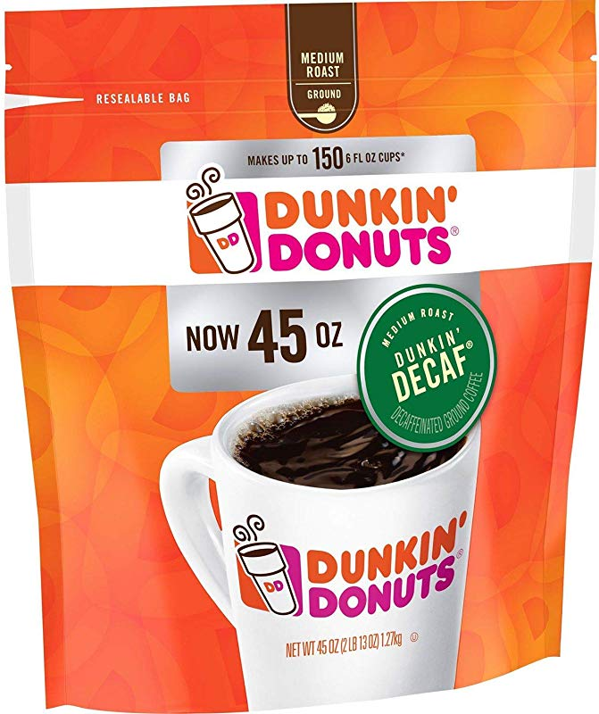 Dunkin Donuts Original Blend Decaffeinated Ground Coffee 45 Oz
