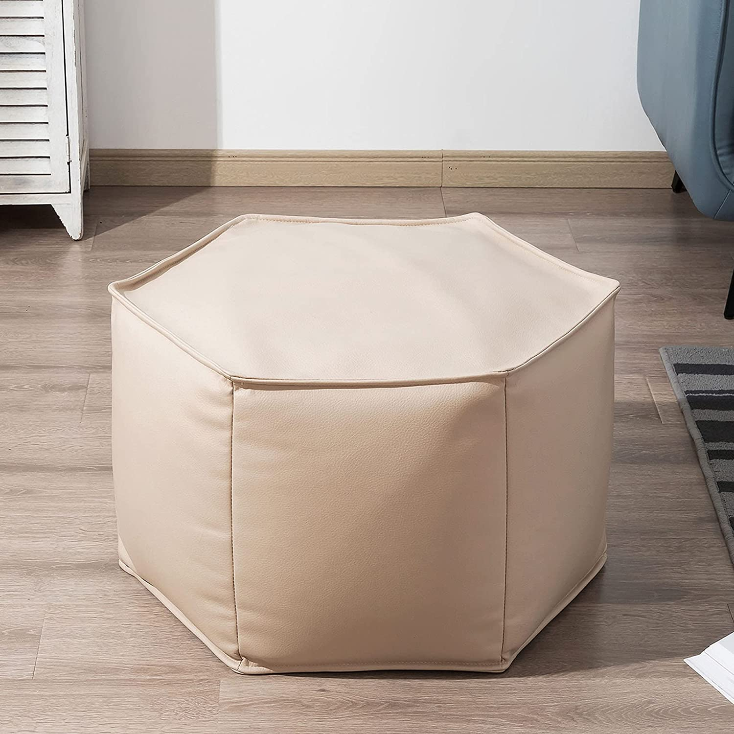 HIGOGOGO Modern Fixed price for sale Upholstered Pouf Leather Footstool Max 75% OFF wi Faux