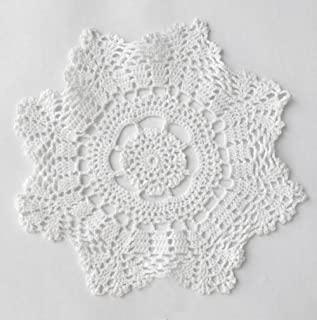 Fennco Styles Handmade Crochet Lace Cotton Doilies - 10-inch Round - 4-pack (White)