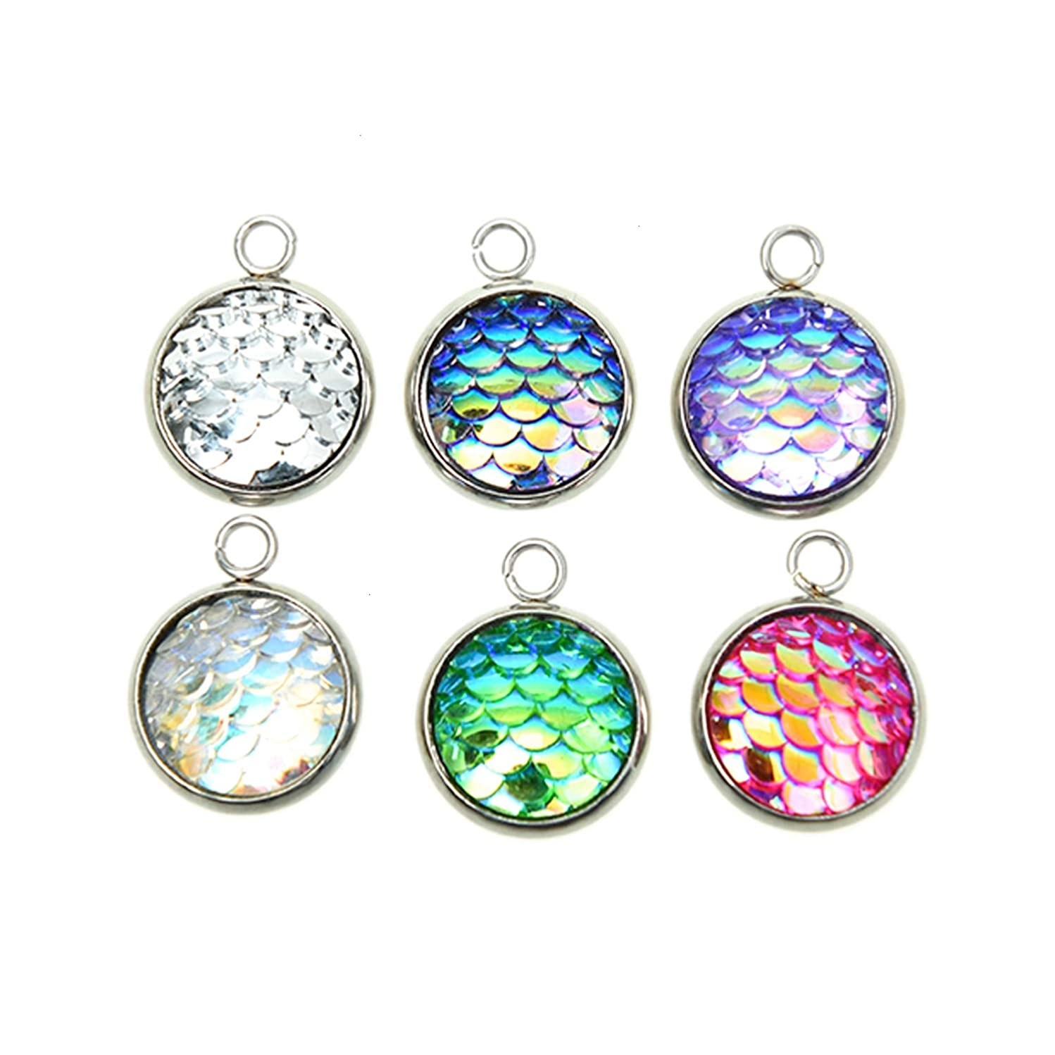 Monrocco 24Pcs Mixed Color Flat Round with Mermaid Fish Scale Shaped Resin Pendants with Stainless Steel Finding for Jewelry Making Supply Pendant Bracelet DIY Crafting