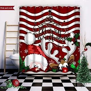 Wasserrhythm Merry Christmas Shower Curtain Red Reindeer Santa Claus Custom Fashion Hide and Seek Shower Curtain Polyster 72x72 Inches