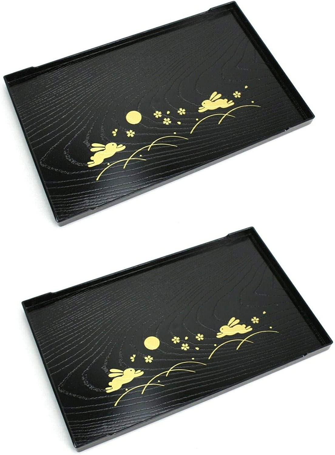 JapanBargain 2940x2, Set of 2 Japanese Tea Tray Sushi Plate Plastic Black Tray Snack Plate, Bunny Rabbit and Moon Print, Made in Japan, 10x6.25 inch