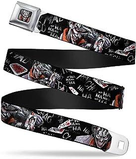 Joker Face Stare Full Color Seatbelt Belt - Joker BRILLIANTLY TWISTED PSYCHO 2-Poses/Cards Black/Grays Webbing REGULAR