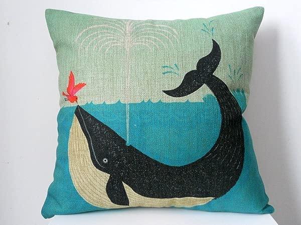 Decorbox 棉麻方形装饰复古抱枕套复古靠垫套鲸鱼和小鸟朋友 18x18