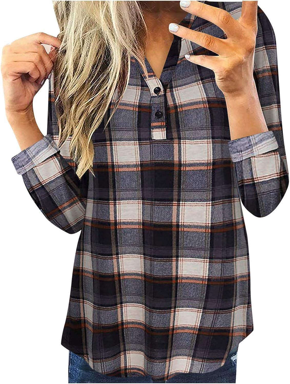 Womens Flannel Shirt,Womens Plaid Shirts V Neck Rolled Long Sleeve Tunic Tops Casual Fall Tshirts Blouses