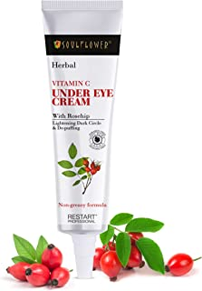 Soulflower Under Eye Cream for Wrinkles, Dark Circles, Puffiness with Vitamin C, Vitamin E, Lactic Acid, and Rosehip Oil -...
