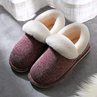 JWWOZ Couple Slippers, Men's Winter Cotton Slippers, All-Inclusive Heels, Wear Non-Slip Soles, Stitching Will Not Unglued Rope, Heavy-Bottomed Non-Slip Indoor Slippers, (Color : C, Size : 35-36)