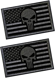 2 PCS Tactical Patches of USA US American Flag with Punisher Skull, with Hook and Loop for Backpacks Caps Hats Jackets Pants, Military Army Uniform Emblems, Size 3x2 Inches