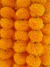 Decoration Craft Pack of 5 Artificial Light Orange Marigold Flower Garlands 5 Feet Long, for Parties, Indian Weddings, Ind...