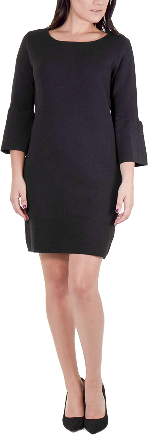 NY Collection Women's Bell Sleeve Sweater Dress