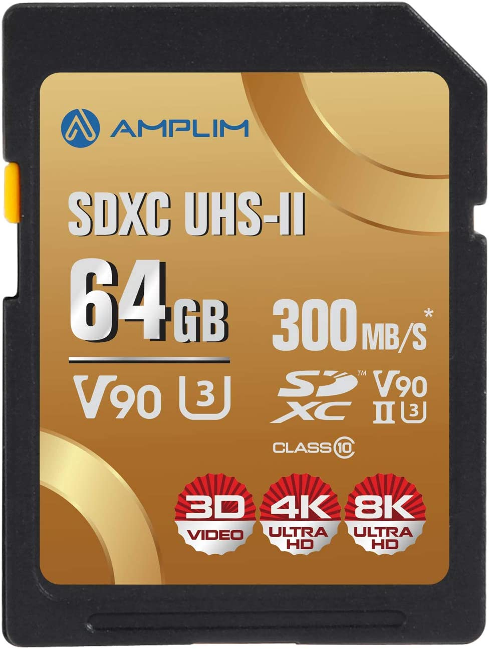 Amplim 64GB V90 UHS-II SD SDXC Card, 300MB/S 2000X Read/Write Lightning Speed Performance, Extreme Read, U3 Secure Digital Memory Storage for Professional Photographer and Videographer