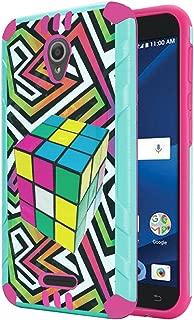 Alcatel IdealXcite Case, Alcatel Verso Case, Alcatel CameoX Case, Alcatel Raven LTE Case, Capsule-Case Dual Layer Slim Defender Armor Combat Case Mint & Pink - (Rubiks Cube)