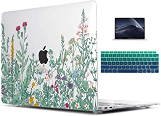 TwoL Botanical Illustration Engraving Style Hrad Shell Case Cover and Keyboard Skin Screen Protector for New MacBook Air 13 inch 2018 Model A1932 with Retina Display