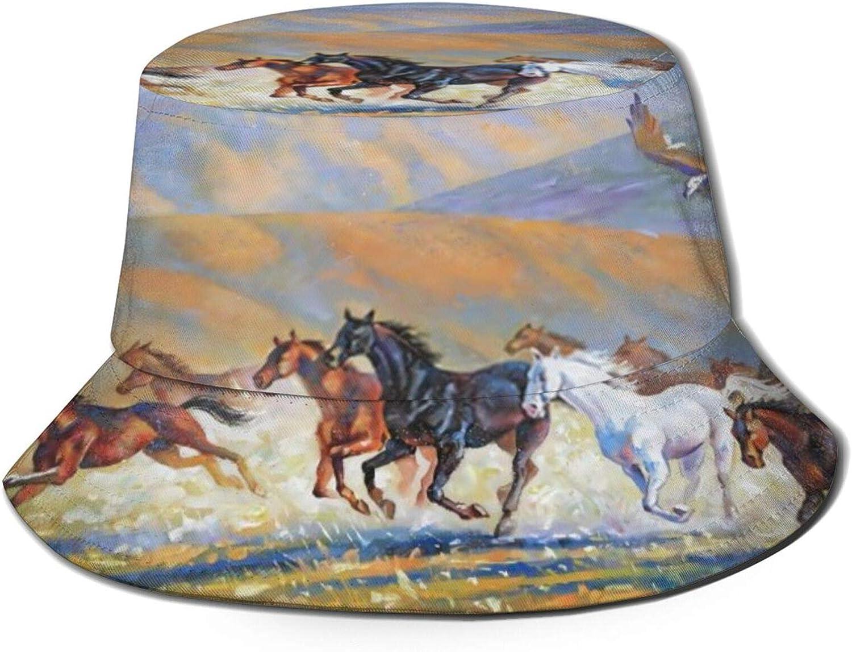 Horses Max 85% ! Super beauty product restock quality top! OFF Running Art Bucket Hat Unisex Summer Sun Packable Fis