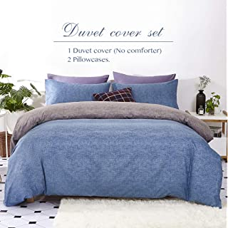 Eternal Moment 3 Piece Solid Color Microfiber Duvet Cover Set, Ultra Soft and Durable, Duvet Cover and 2 Pillowcases, Blue-King