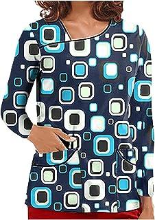 YOYHX Holiday Scrub_Tops for Women Working Uniform T-Shirt Cute Stretch Printed Long Sleeve V-Neck Pockets Holiday Shirt Tops