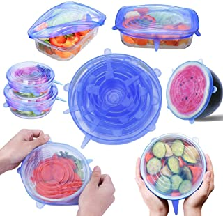 Silicone Stretch Lids with XL Size for Cups and Bowls - Food Clear Covers Set of 7