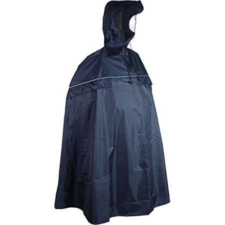 SHIBA Rain Protect Rain Poncho with Hood - Blue Bicycle Rain Cape for Men and Women - Waterproof and Lightweight - with Practical Pocket